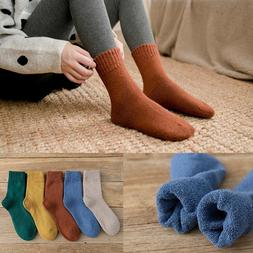 1 Pair Winter Solid Color Thickening Terry <font><b>Socks</b