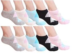 10 Pair Women's Cotton Sneaker Low cut Ankle Socks-ling-S/M