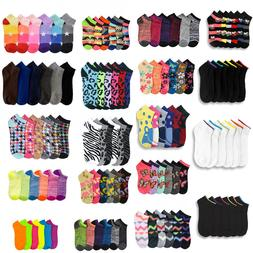 12~600 Women Ankle Socks Assorted Design Colors Noshow Schoo