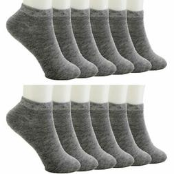 12 Pack Ankle Socks Cotton Men Womens Size 10-13 Low Cut Cre