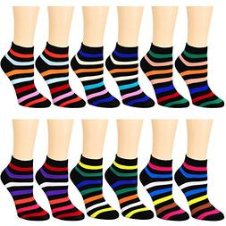 12-Pack Women's Ankle Socks Assorted Colors Size 9-11  L802-