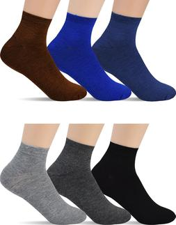 12 Pairs Men's Ankle Low Cut Socks - Black Gray Navy - For M