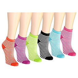 12 Pairs Women's Socks Assorted Colors Mini-Striped 601-82