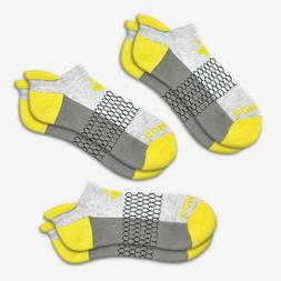 3-Pack Bombas Men's Ankle Socks ~Yellow-Gray-Dark~ Honeycomb