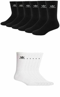 3 Pair Men's Adidas Originals Crew Socks Black or White Tref