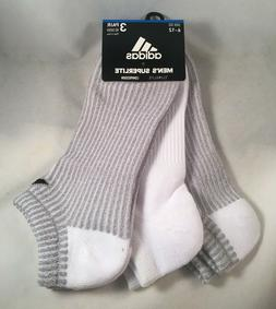 3 Pair Adidas No Show Socks Men's Shoe Size 6-12 Gray, White