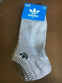 ADIDAS 3PACK ANKLE SOCKS GREY SIZE 6-12 NEW