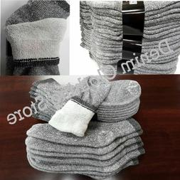 4~12pairs Men Cotton Ankle Terry Socks Gray Warm Thermal Spo