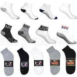 4 8 12 Pairs Lot Men Athletic Sports Cotton Ankle Socks USA