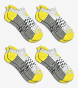 4-Pack Bombas Men's Ankle Socks ~Yellow-Gray~ Honeycomb Size
