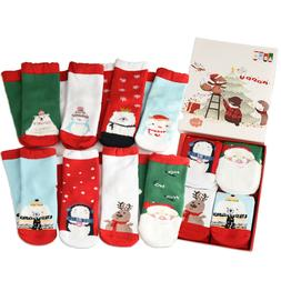 4Pack Cotton Christmas Holiday Novelty Ankle Socks Toddlers