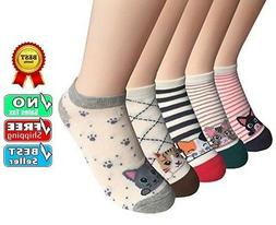 FAYBOX 5 Pack Women Low Cut Ankle Socks No Show Running Spor