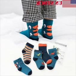 5Pairs Kids Baby Toddler Cotton Socks Stripes Assorted Non S