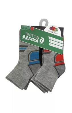 6 Fruit of the Loom Boys Everyday Active Ankle Athletic Sock