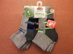 6 Pack Pairs Fruit Of The Loom Boy's Ankle Socks Shoe Size 9