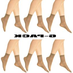 3~6 Pack Women's No Show hosiery 40D Stretchy Sheer Ankle So