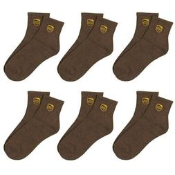 6 PAIR PACK UPS LOGO UNITED PARCEL SERVICE DRIVER BROWN ANKL