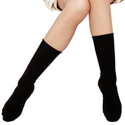 6 Pair Women's Solid Cotton Winter Ankle Dress Socks-black-S