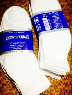 6 Pair Womens COTTON White Golf Ankle Diabetic Socks Sz 9-11