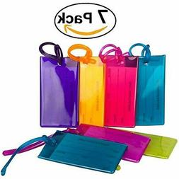 7 Pack TravelMore Luggage Tags For Suitcases, Flexible Silic
