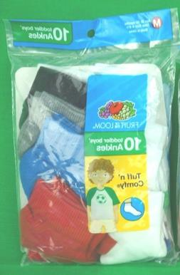 Fruit of the Loom Boys Toddler Flat Knit 10 Pack Ankle Cut S