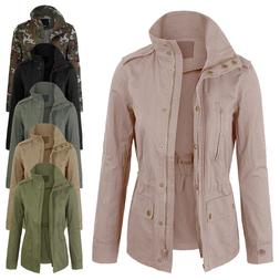 Women's Zip Up Military Anorak Safari Jacket with Pockets Co