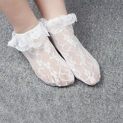 Lady Ankle Socks Girls Retro Lace Ruffle Frilly School Short