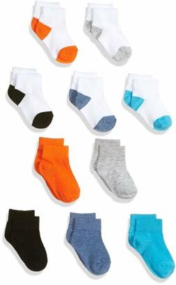 Fruit of the Loom Baby Boys' Ankle 10 Pack Sock, Assorted, 7