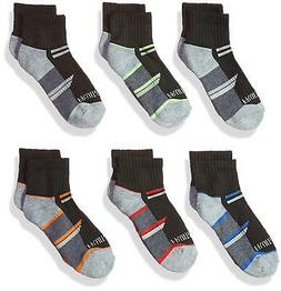 Fruit of the Loom Big Boys' 6-Pair Half Cushion Ankle Socks,