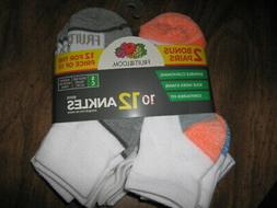 FRUIT OF THE LOOM Boy's Ankle Socks, 12 pairs, sz Small - Sh