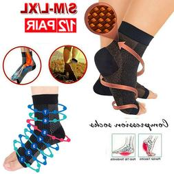 Copper Compression Socks Ankle Support Stockings Foot Sleeve