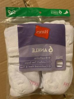 Hanes Cushioned Ankle Socks 12 Pr. Size 5-9 White.  2 Packs