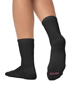 Hanes Cushioned Women's Crew Athletic Socks 10-Pack Black 9-
