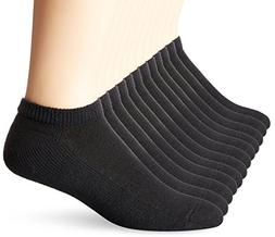Hanes Men's 12 Pack Low Cut Socks, Black, 10-13/Shoe Size 6-