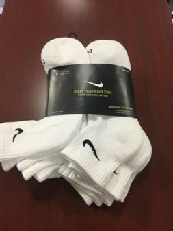 Nike Dri Fit Ankle Socks 3 Pack White Black Cotton Cushioned