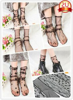 Fashion Women Transparent Ultrathin Sheer Lace Mesh Ankle Ho