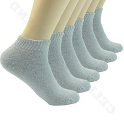 Gray 6 Pairs For Mens Ankle Quarter Crew Sports Socks Cotton