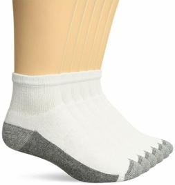 Hanes Men's ComfortBlend Max Cushion Ankle Socks, 6 Pack, Wh