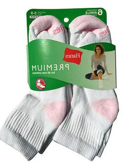 Hanes set of 6 paris Women's cushion Ankle white socks fit s