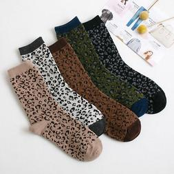 Harajuku Leopard Socks for Women Girls Fashion Cotton Ankle