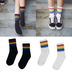Harajuku Rainbow Striped Stockings Cool Skateborad Long Sock