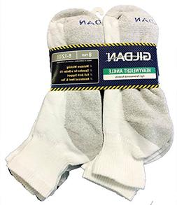 16 Pairs Gildan Heavyweight Ankle Quarter Socks Reinforced M