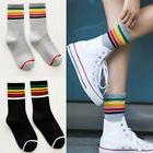 1 Pair Fashion Women Rainbow Striped Socks Short Ankle Cotto