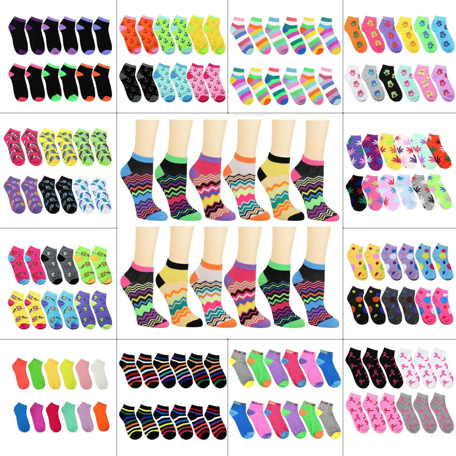 12 pairs assorted color women ankle socks
