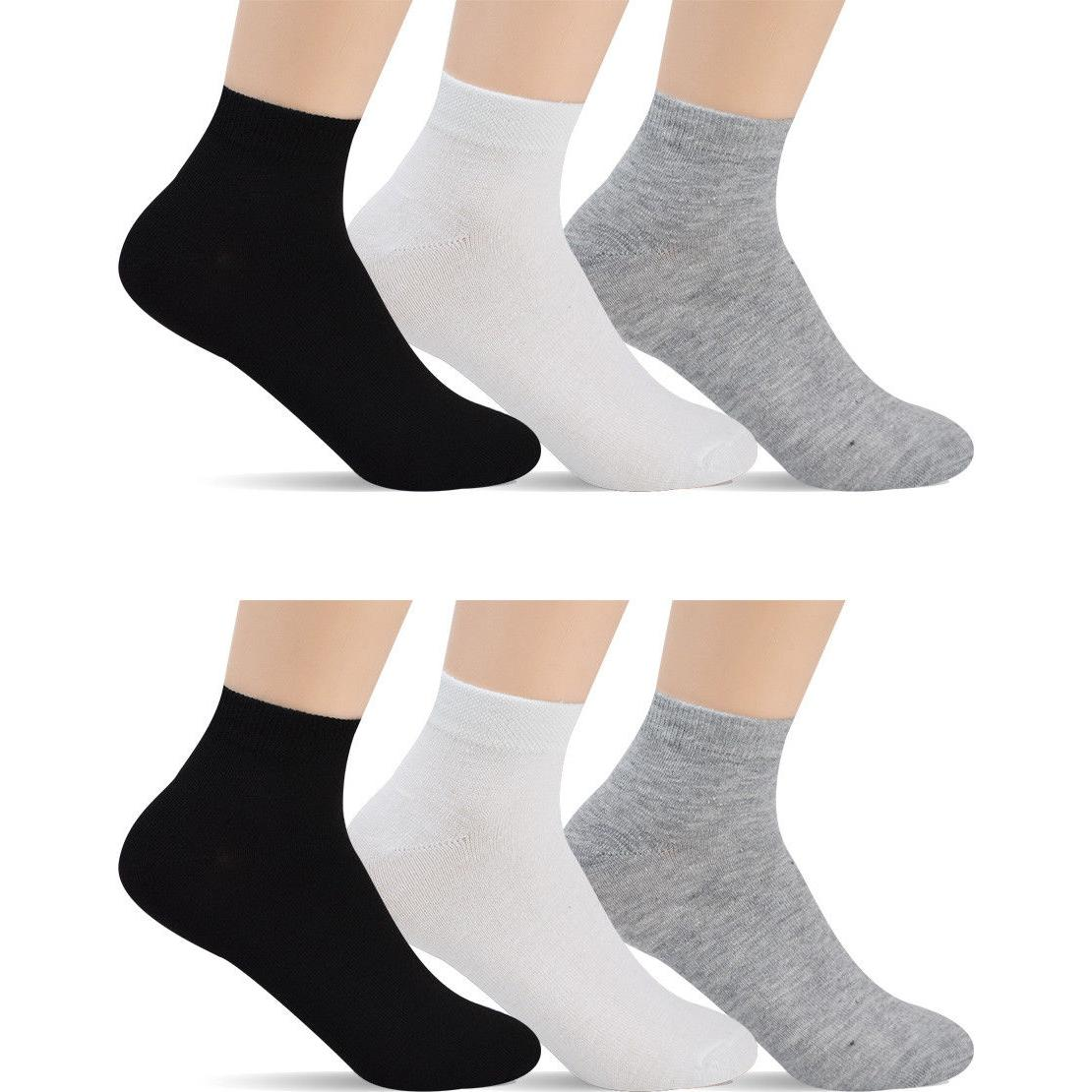 12 Pairs Men's Low Cut Socks - Ankle Black Gray White For Me