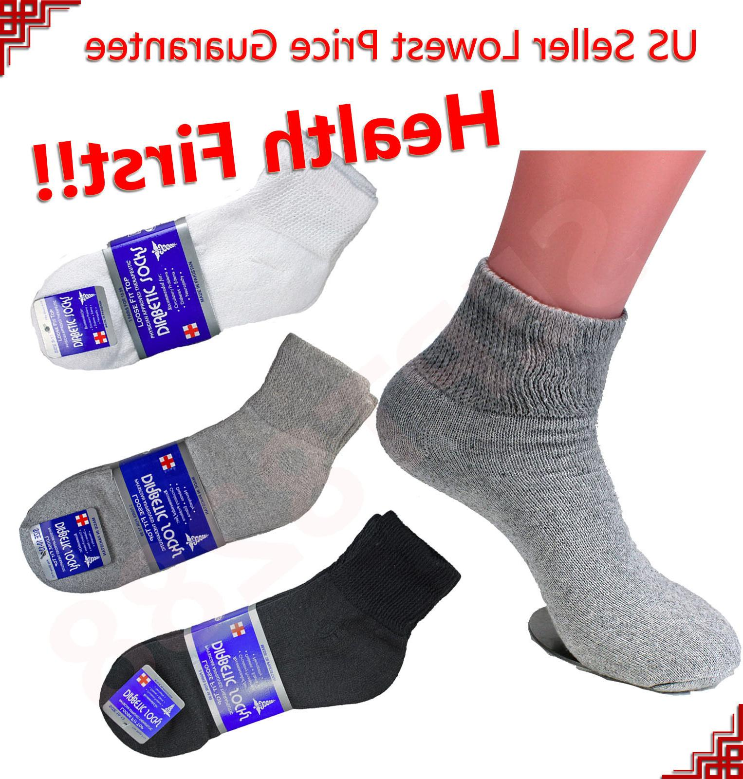 Mens 3,6,12 Pairs Diabetic ANKLE QUARTER Circulatory Socks H