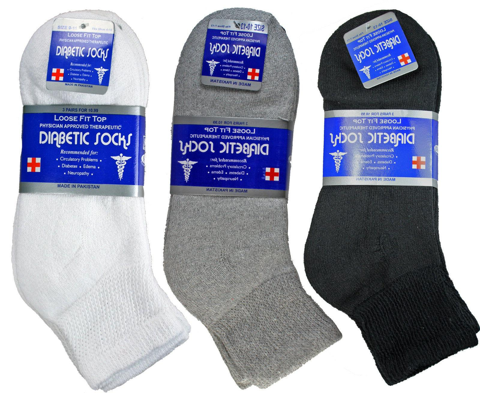 3-12 Pairs Mens Diabetic Ankle Quarter Socks Cotton Loose Fi