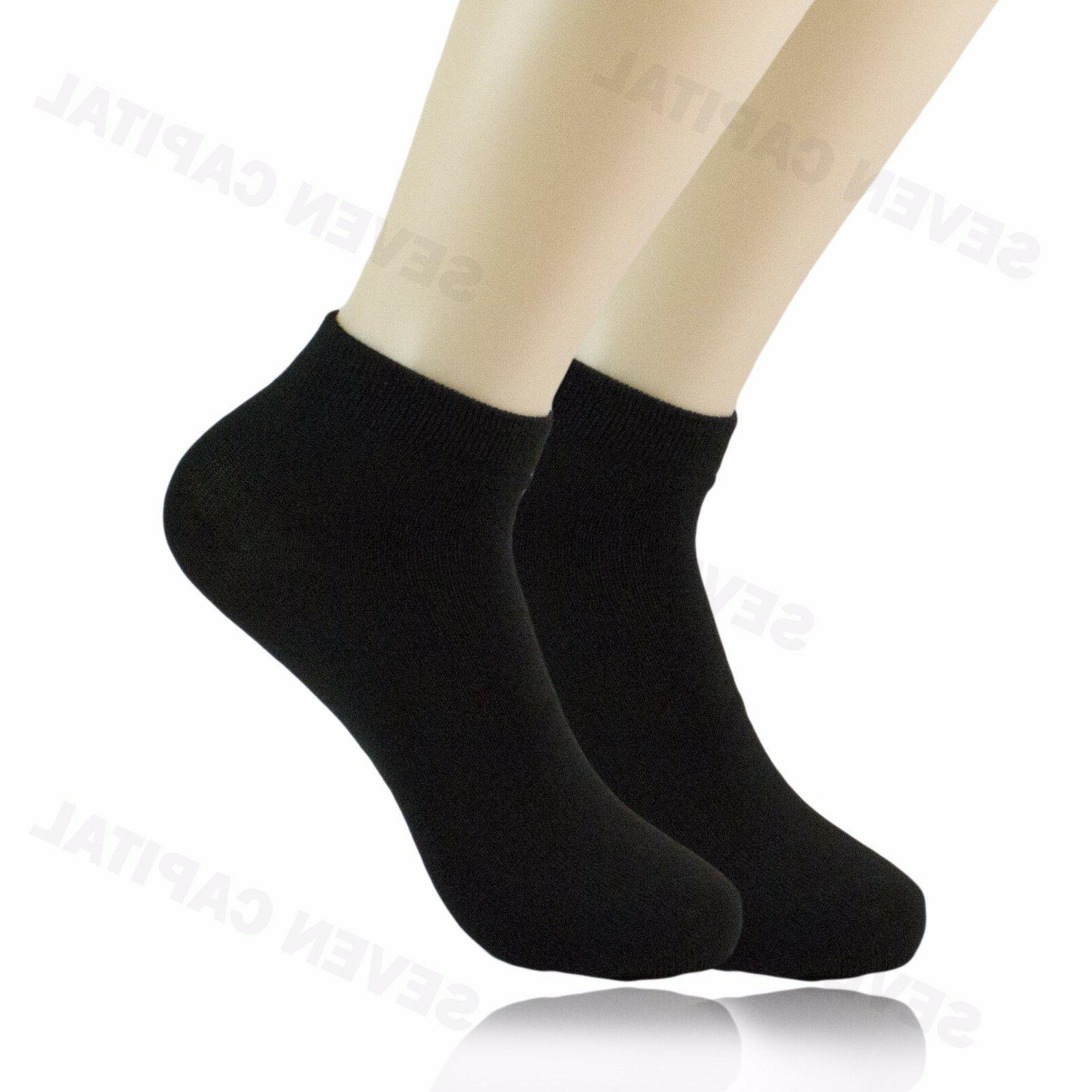 3 6 9 Pairs Womens Solid Black White Ankle Low Cut