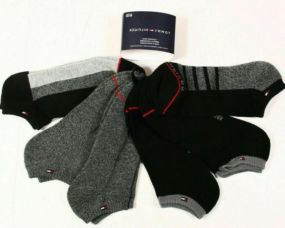6 PAIRS Tommy Hilfiger Cushion Sole Low Cut Socks Black Gray