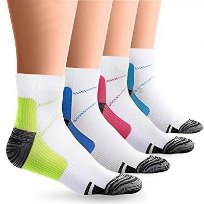 BLUEMAPLE 4 Pair Compression Socks for Women and Men, Compre